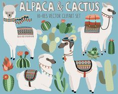 Cactus and Llama Clipart  Adorable Alpaca and by KennaSatoDesigns