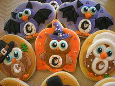 Halloween themed Owl Cookies Pinned by www.myowlbarn.com