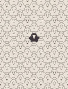 black sheep, black sheep have you any wool? Yes sir yes sir, three bags full.  Black sheep wallpaper pattern. Funny.