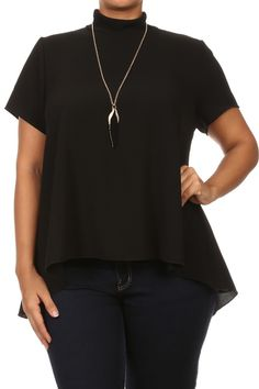 Plus Size Holiday Party Necklace Sheer Top Plus Size Women's Tops, Holiday Parties, Short Sleeves, Tunic Tops, Party, Fabric, Collection, Fashion, Dress