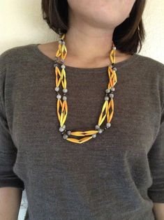 F4 yellow paper bead necklace w/natural beads by Twerwaneho, $10.00