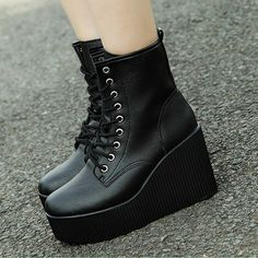 2013 autumn wedges platform martin boots fashion knee high motorcycle boots casual boots lacing-inBoots from Shoes on Aliexpress.com