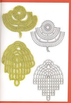 Remarkable Irish Crochet Leaves from this great Russian site. by Tammire Crochet Leaf Patterns, Crochet Leaves, Crochet Motifs, Freeform Crochet, Crochet Diagram, Crochet Chart, Thread Crochet, Crochet Flowers, Crochet Russe