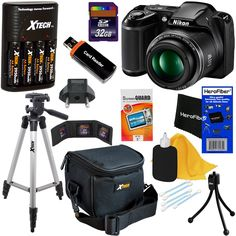 Nikon COOLPIX L340 Digital Camera with 28x Zoom & Full HD Video (Black) International Version + 4 AA Batteries & Charger + 32GB Dlx Accessory Kit w/HeroFiber Cleaning Cloth. This kit includes 11 items, Camera includes all manufacturer's supplied accessories, Additional accessories are backed with Hot Deals Electronics 1 year 100% Satisfaction Guarantee. Nikon COOLPIX L340 20.2 MP Digital Camera with 28x Zoom NIKKOR Lens & Full HD 720p Video Recording - Black (international version, backed…