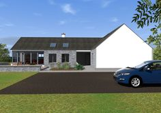 This design has a traditional Irish cottage front with traditional form and vernacular. The rear of the property is where the licence to introduce architectural flair was given, this is evident in … Modern Bungalow Exterior, Modern Bungalow House, Cottage Style House Plans, Bungalow House Plans, Modern Farmhouse Exterior, Bungalow Ideas, Bungalow Designs, Bungalow Decor, Rural House