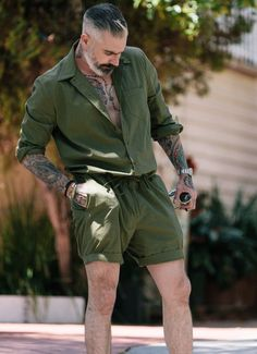 We choose not to call these men's rompers but rather the traditional name, men's jumpsuit. Breathable and so comfortable! You won't want to take it off on those sunny days. MADE IN USA *All sale items are final. No Returns/Exchanges. Men With Street Style, Men Street, Stylish Men, Men Casual, Romper Men, Mode Cool, Mode Man, Summer Outfits, Casual Outfits