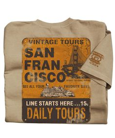 Vintage Tours - Kona Coffee-Dyed The Classic Crew San Francisco Coffee, Crazy Shirts, Kona Coffee, Tours, Classic, Vintage, Fashion, Derby, Moda