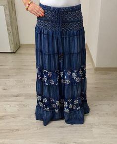 Maxi sukňa jeans kvety