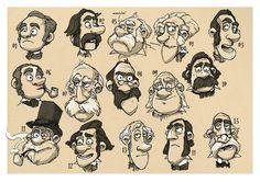 Aardman Animations concept art Scientist Faces