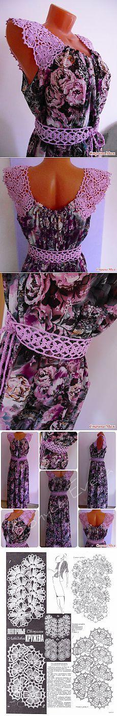 Combinamos la tela y la labor de punto. Crochet Lace Edging, Crochet Fabric, Unique Crochet, Knit Crochet, Crochet Collar, Crochet Blouse, Fairy Clothes, Irish Lace, Crochet Dresses