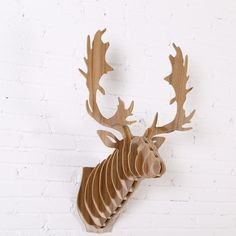 1 set IWood Wood Animals Head Creative Deer Head Wall Hanging For Art Home Office or Store Wall Decoration IW-WD019