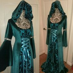 Custom made 'Forest dress' in teal.  Custom made Ophelia dress in purple variation with hooded velvet cloak. Custom requests available from my shop:  https://www.etsy.com/uk/shop/SuperstitchiousCo?ref=hdr