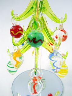 New Glass Christmas Tree 12 Removable Glass Ornaments Mirror Base Storage Box