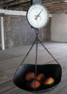 Vintage Hanging Scale With Scoop