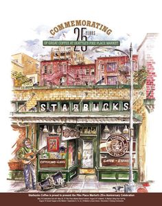 My favorite Starbucks piece... Lived in Seattle and loved visiting the Pike Place Market!