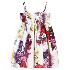 158da3135b05 Kjole med stropper og motiv av blomster i hvit fra luksusmerket Dolce    Gabbana er et