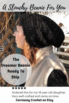 Treat yourself to this beautiful, classic black slouchy beanie. you can choose between a custom Carroway brand wooden tag or a 'Dream It Do it' Ultra Suede tag. I call them my Dreamer slouchy beanies as they are made for dreamers. Handmade by me in Beautiful British Columbia. They also make perfect gifts. Crochet Slouchy Beanie, Knitted Hats, Hipster Beanie, Dream It Do It, Wooden Tags, Mad Hatter Hats, Black Beanie, Kentucky Derby Hats, Etsy Crafts