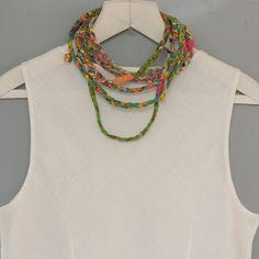 Green  circle scarf  Braid scarf  Fabric Scarf Necklace by ATLIART