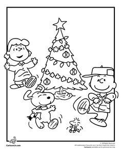 Peanuts Gang Christmas Coloring Page