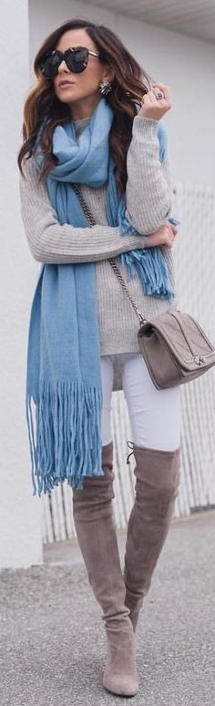 #winter #outfits blue scarf, gray sweater, gray suede boots, and white denim jeans. Pic by @alyson_haley.