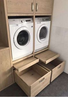 Like the pull out platform/shelf for loading and unloading, setting basket down, etc. Also the large drawers at bottom. Machine units look to be at a … – Laundry Room Boot Room, Laundry, House Interior, Laundry In Bathroom, Laundry Mud Room, Laundry Storage, Room Organization, Room Design, Large Drawers