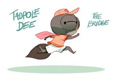 """fabien-mense: Some research for my good ol' project """"Tadpole Dee"""". I'm not an animator, but I wanted to test the animation in photoshop, and that was fun (not very instinctive tho). Character Design Animation, Character Design References, Character Art, Anim Gif, Animated Gif, Gifs, Animation In Photoshop, Kawaii Illustration, Animation Tutorial"""