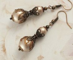 """Victorian Antique Earrings Antique Copper Pearl Earrings Victorian Antique Jewelry Edwardian Earrings Edwardian Jewelry Unique Gift Women - Thanks for the kind words! ★★★★★ """"Vija's earrings are lovely. The Burnt Orange and th - Pink Earrings, Pearl Drop Earrings, Bridal Earrings, Jewellery Earrings, Hoop Earrings, Copper Earrings, Copper Jewelry, Edwardian Jewelry, Antique Jewelry"""
