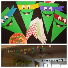 Teenage mutant ninja turtles party bunting id also make some that looked like slices of pizza