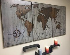 Top 10 wonderful diy wood wall art diy wood wall wood wall art items op etsy die op world map wooden wall art wooden sign brown walnut large lijken gumiabroncs Images