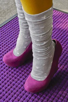 New Tabbisocks Girls' Night Out OTKs, scrunched down and cuffed under to make midcalves. I love wearing my socks like this for layering. It's like having a whole different pair! UPDATE: we regret to inform you that this style has been discontinued and is no longer available.