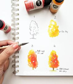 🍂 TREE TUTORIAL🍂 NEW step by step for you today with more details for you guys! 😊🍁 I hope everyone is having a wonderful day! Easy Watercolor, Watercolour Tutorials, Watercolor Techniques, Watercolour Painting, Painting & Drawing, Watercolors, Watercolour Drawings, Guache, Art Studies