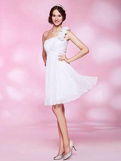 A-line One Shoulder Knee-length Chiffon Cocktail Dress-EB-471995037-US$99