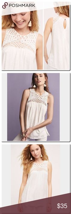 """Anthropologie Macrame Yoke Tank Cotton, modal by Akemi&Kin  Pullover styling Hand wash Imported Style No. 4112383418804 Dimensions Regular: 26""""L Petite: 24.25""""L Anthropologie Tops Tank Tops"""
