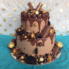 Jen, Bake down cakery. 21st Cake, 18th Birthday Cake, Drip Cakes, Chocolate Drizzle Cake, Yummy Treats, Sweet Treats, Gateaux Cake, Pretty Cakes, Cake Toppers