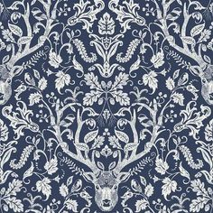 NuWallpaper Navy Escape to the Forest Peel and Stick Wallpaper in Blue | NUS3680