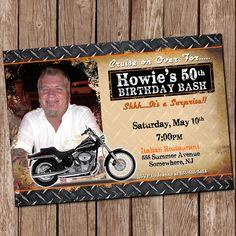 Harley Davidson Party Invitation 5x7 by MasonsMommyDesigns, $8.00