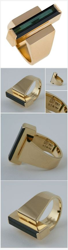 Stunning George Jensen Wendel Danish #Modernist Tourmaline Gold Ring