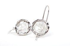 Simple diamond slice drop earrings in handmade white waxy bezel with white diamond briolette drops.