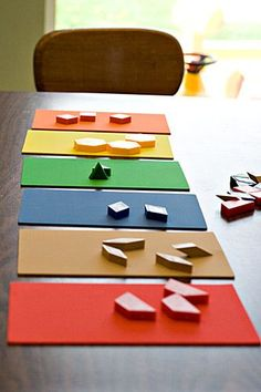 Sort pattern blocks on sheets of colored felt or paper.