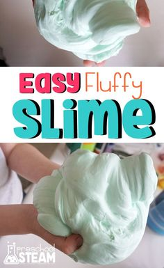 The Easiest Fluffiest Slime Recipe Easy Fluffy Slime Recipe, Fluffy Slime Ingredients, Making Fluffy Slime, Easiest Slime Recipe, 3 Ingredients, Sensory Play Recipes, Cool Slime Recipes, Sensory Toys, Slime Craft