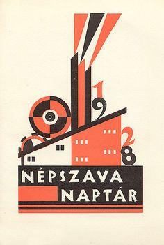 "Calendar Cover ""Népszava Naptár 1928."" Designed by ""Karl Dukai."""