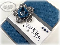 "♥ this ""Thank You"" card with aluminium foil flower, by Beth Beard from ""My little craft blog"".  Beth has also included really easy to follow step by step instructions.  ♥ the tip about using the Clear Embossing Powder over the Classic Ink Pad idea!"