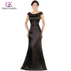 >> Click to Buy << Black Evening Dresses Grace Karin Lace V Back Mother of the Bride Dress Backless Long Satin Evening Gowns Formal Dress 7533 #Affiliate