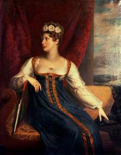1817 Princess Charlotte of Wales in blue gown by George Dawe (private collection)
