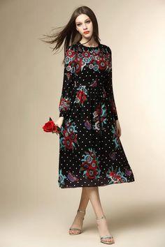 2016 Spring Flora Polka Dot Vintage Empire Pleated Dress NXBL01059