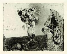o.T. (Blumen in gläsernem Kelch). By Horst Janssen ,1972