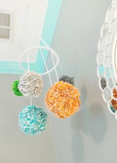 DIY Fabric Pom Pom Nursery Mobile