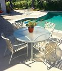 Vintage Brown Jordan Tamiami Patio Furniture Dining and Side Table 6 chairs MINT