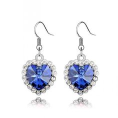 Contessa Bella Fancy Genuine 18k White Gold Plated Cobalt Blue and Clear Swarovski Austrian Crystal Elements Beautiful Framed Heart Shaped Dangle Pierced Women Earrings Elegant Silver Color Crystal Fashion Jewelry -