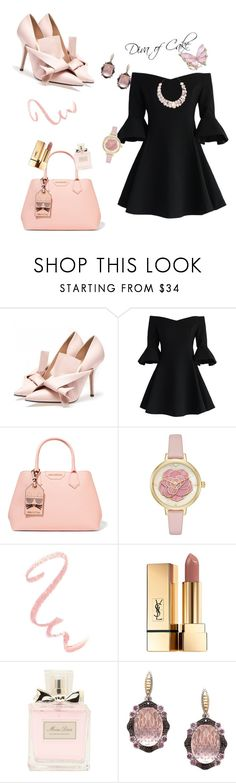 """""""peach rose and black outfit"""" by Diva of Cake  featuring Chicwish, Karl Lagerfeld, Kate Spade, Yves Saint Laurent, Christian Dior, Phillip Gavriel and Poppy Jewellery"""